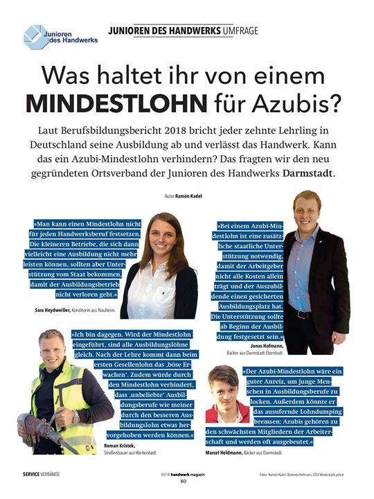 In der Ausgabe 05.2018 vom handwerk magazin. Sind wir wieder vertreten, mit dem neuen Ortsverband Darmstadt.